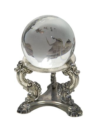 foresee: Future of the world shown by a crystal ball with the globe etched into the face - path included