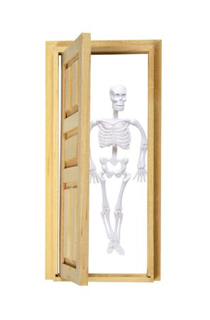 Skeleton in the closet with a partially opened door  - path included Stock Photo - 5643909