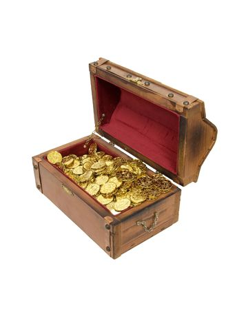 Wooden treasure chest with metal straps and hardware filled with gold - path included Stock Photo - 5643915