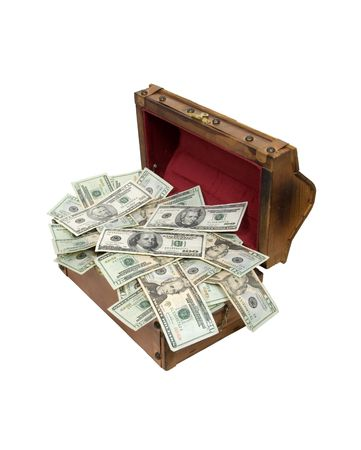 Wooden treasure chest with metal straps and hardware full of money - path included