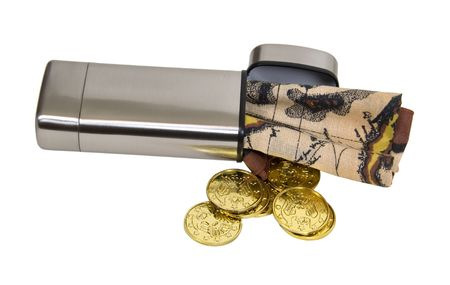 loot: Hidden treasure shown by a silver container filled with a treasure map and gold coins - path included Stock Photo