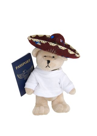 colores: Vacation time shown by a teddy bear wearing a sombrero with a passport - path included