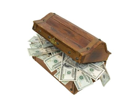 Partially open wooden treasure chest with metal straps and hardware full of money  photo