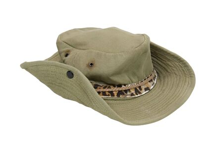 well loved: Worn and well loved outback Aussie hat with animal print band - path included Stock Photo