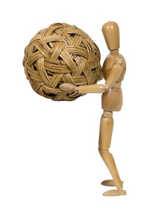 tightly: Tightly woven globe held close by a wooden model - path included Stock Photo