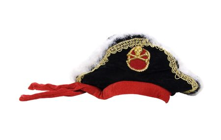 pirate hat: Pirate hat with skull and gold trim - path included Stock Photo