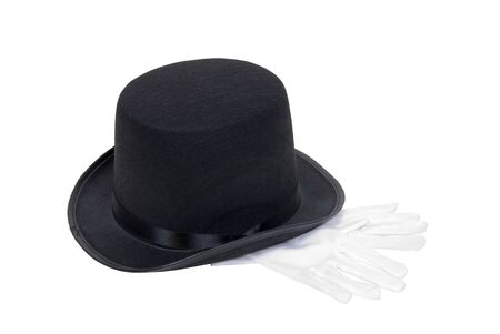 Black top hat and gloves are a formal standard accessory in male society - path included