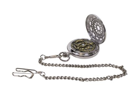Silver pocket watch astrolabe with a metal chain, bringing science and exploration within easy reach