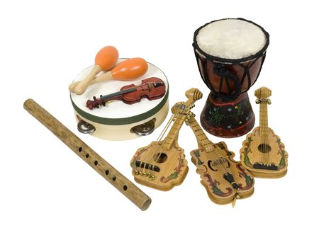 Various musical instruments for enjoying and appreciating music - path included Stock Photo - 5986236