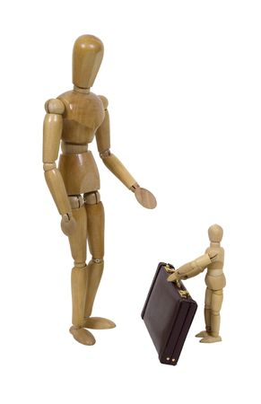 Small child holding a parents briefcase as they get ready for work photo