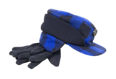 warmth: Blue and black plaid hunters cap with ear flaps for warmth and warm gloves