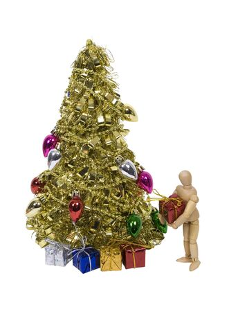 garnishments: Placing presents under brightly decorated golden Christmas tree for celebrating the winter season - path included