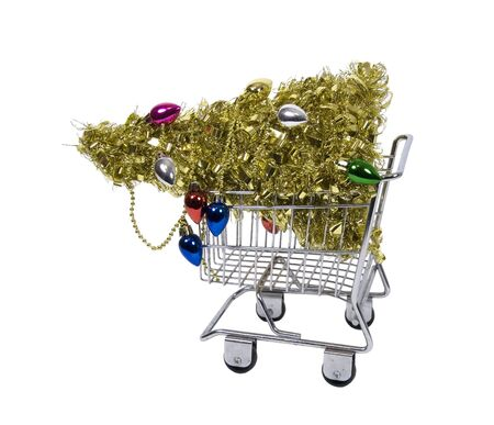 garnishments: Shopping for the holidays with a golden Christmas tree in a shopping cart - path included