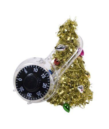 not open: Non aprire fino a Natale dimostrato dal lucchetto intorno albero di Natale - percorso incluso