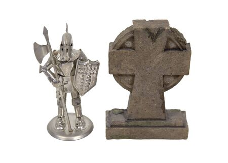 Geneology research shown by a medieval knight wearing armor standing next to a gravestone