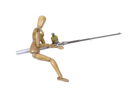 model fish: Model holding a fishing pole with rod and reel used to catch fish
