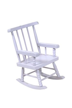 white washed: White washed retro wooden rocking chair