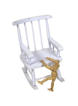 white washed: Toddler climbing up on a white washed retro wooden rocking chair - path included