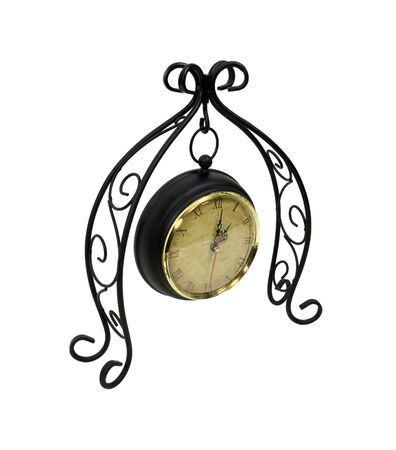 Formal clock hanging from a scrolled metal work to measure time passing Banco de Imagens - 6440437