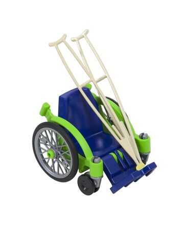 unavailable: Wheelchair and crutches used for assistance in personal transportation when ambulatory methods are unavailable Stock Photo