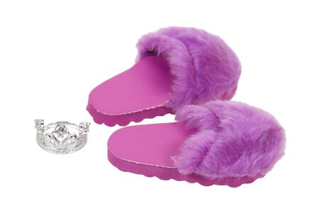 Weekend princess kit with fuzzy pink slippers and a diamond crown