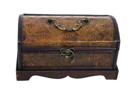 Fancy pressed leather box with antique lock used to store items  Фото со стока