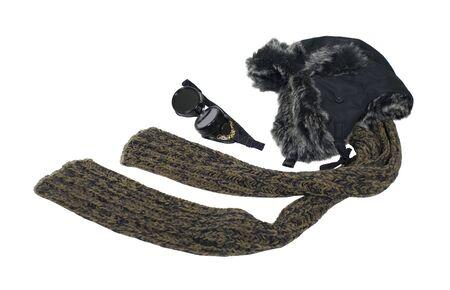 steampunk goggles: Kit de aviador steampunk de clima fr�o con sombrero de piel, los ojos proteger las gafas y bufanda