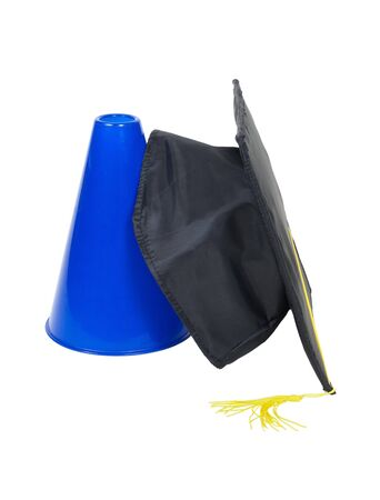 Graduation announcement shown by a blue megaphone and a graduation mortar photo