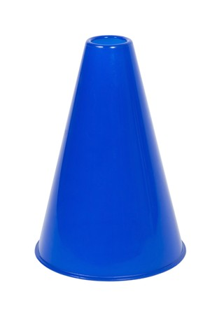 Blue megaphone used for amplifying the voice during group gatherings