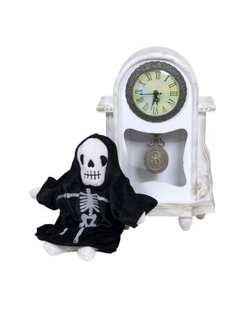 Time is running short with death incarnated leaning against a formal clock to measure time passing