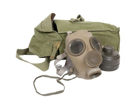 Being prepared with a rubber gas mask to protect the wearer from airborne pollutants and toxic gases with filter and carrier bag