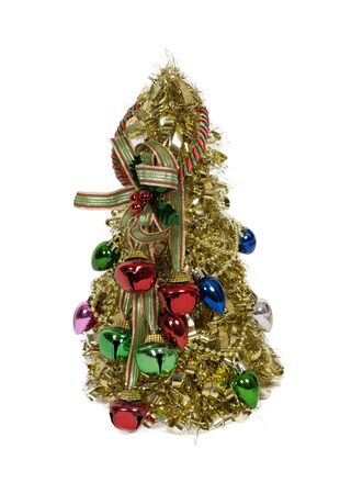 garnishments: Brightly decorated golden Christmas tree with bells for celebrating the winter season - path included