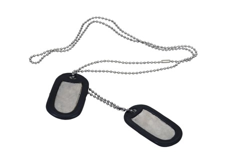 Military dog tags made of metal with a beaded chain - path included Stock Photo