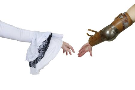 grasp: Medieval grasp hands shown by a man wearing armor and a woman wearing feminine gothic white lace outfit - path included