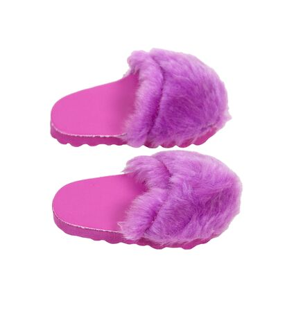 Fuzzy pink slippers to wear at home when relaxing in luxury