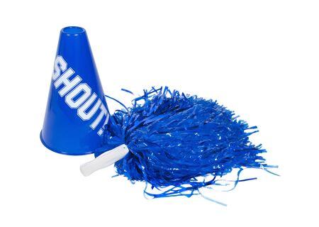 Pom pom en megafoon gebruikt voor juichen op het team van keuze  Stockfoto - 7314241