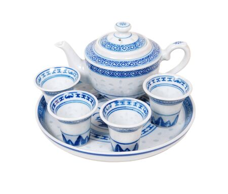 Blue china decorated tea set for a relaxing afternoon repast Stock Photo