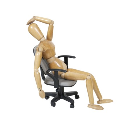 exasperation: Model slouched down in an adjustable office chair with his hand on his head showing frustration