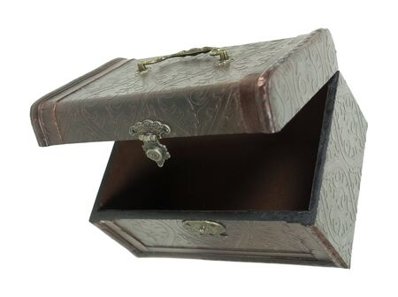 Fancy pressed leather box with antique lock used to store items viewed from the top down