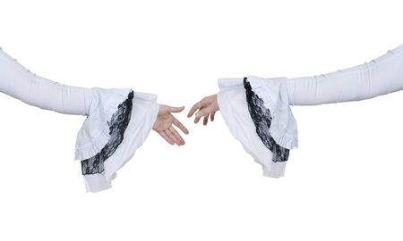 Extending a handshake wearing a delicate and feminine gothic white lace outfit  photo
