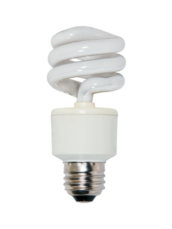 efficiently: Spiral glass bulb lightbulb used to light a room efficiently
