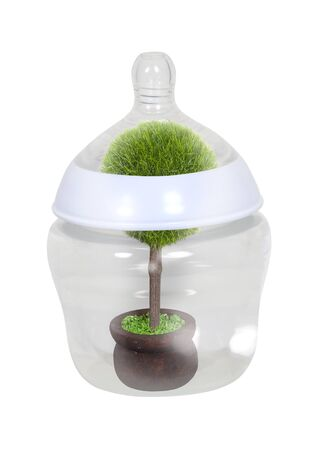 Growing resources shown by a baby bottle with a tree growing inside Imagens