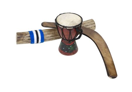 Djembe drum, rainstick and a boomerang made of wood Stock Photo - 7606838