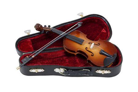 moulded: Viol�n cl�sico de madera con Malet�n moldeado abierto y listo para jugar  Foto de archivo