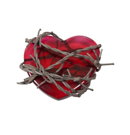 Sharp barbed wired used as a barrier bound around a red heart - path included
