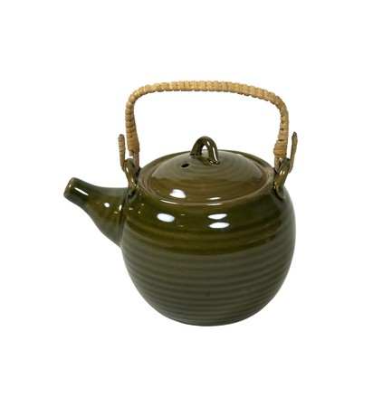 Green porcelain tea pot with bamboo handle - path included Stock fotó
