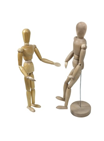 limitations: Overcoming limitations shown by a wooden model showing another model how to get around without the stand and metal rod - path included
