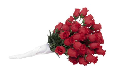 soft pedal: A dozen long-stem red roses wrapped in a paper towel - path included