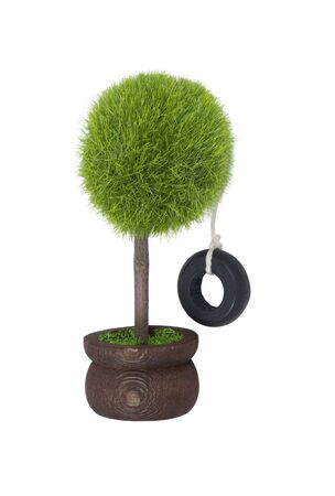 reminiscent: Tire swing hanging from a potted tree reminiscent of childhood - path included