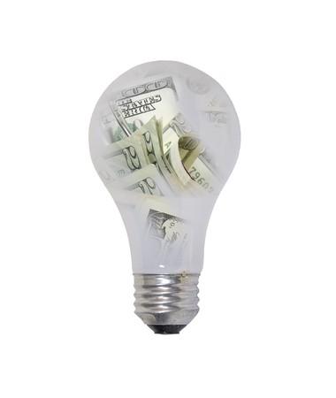 Idee di denaro mostrati da una lampadina di vetro riempita con denaro - percorso incluso Archivio Fotografico - 7649507
